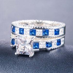 925 Silver Princess Cut White Sapphire Ring